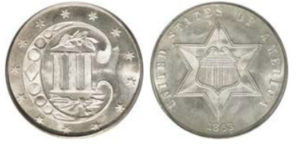 1863 silver three cent piece with double