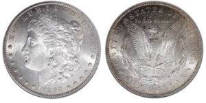 1892 S Morgan dollar