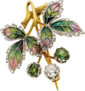 Art Nouveau diamond demantoid garnet plique a jour