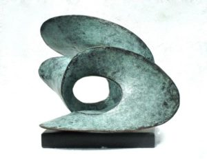 Sculptor Gill Brown Bronze Sign of the Zodiac sculpture titled Inscape